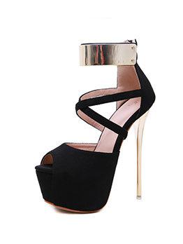 Stylish Suede Patchwork Super High Platform Heels