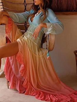 V Neck Long Sleeve Gradient Color Maxi Dress