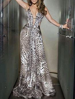 Deep V Neck Leopard Print Backless Maxi Dress