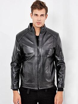 PU Stand Collar Men Winter Jackets