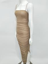 Spaghetti Strap Ruffle Bodycon Maxi Dress