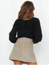 Solid Drawstring Long Sleeve V Neck Sweater