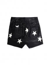 Star Printed Pu Short Pants For Women