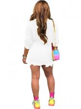 Solid Long Sleeve Irregular Hem Crop Top And Skirt Set