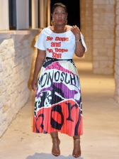 Letter Print Tee With Contrast Color Printed Pleated Skirt