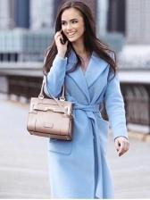 Solid Large Pockets Tie-Wrap Ladies Overcoat