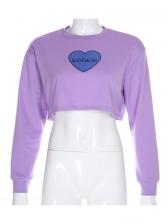 Heart Letter Print Long Sleeve Cropped Sweatshirt