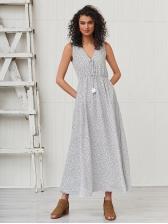 Spring Dots Print Loose Waist Sleeveless Dress