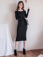Sexy Knitting Off Shoulder Wrap Midi Dress