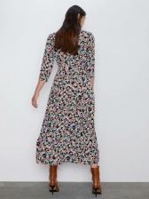 Turndown Collar Floral Print Long Sleeve Maxi Dress