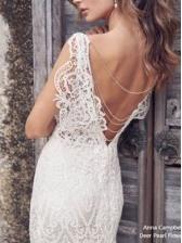 V Neck Sleeveless White Lace Prom Dress