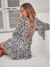 Drawstring Floral Ruffles Sleeve Pleated Short Dress