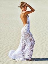 Sexy V Neck Backless Lace Slip Maxi Dress
