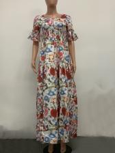Square Collar Flower Elastic Waist Maxi Dresses