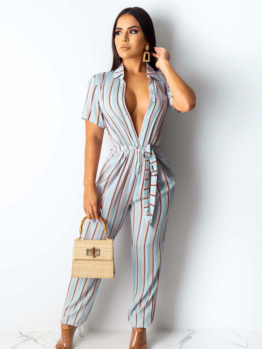 Casual Striped Short Sleeve Jumpsuits For Women