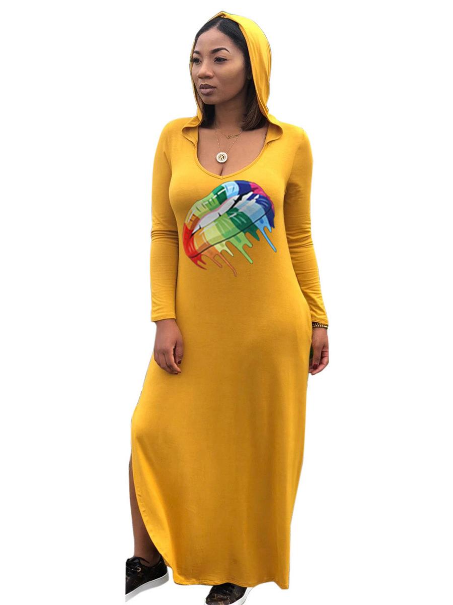 Lips Printed Hooded Collar Loose Maxi Dress
