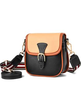 Fashion Contrast Color Saddle Bag For Women