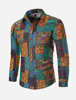 Vintage Floral Print Shirts For Men