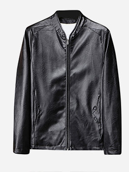 Leather Solid Zipper Jackets For Men