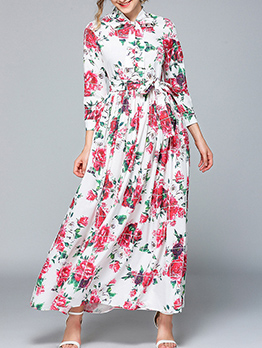 Tie Neck Rose Printed Long Sleeve Maxi Dress