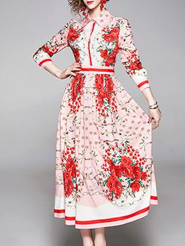 Trendy Printed A-Line Long Sleeve Maxi Dress