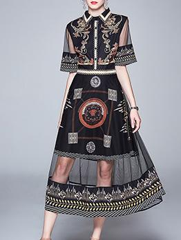Stylish Gauze Patchwork Printed Short Sleeve Maxi Dress