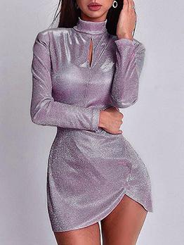 Chic Mock Neck Glitter Long Sleeve Mini Dress