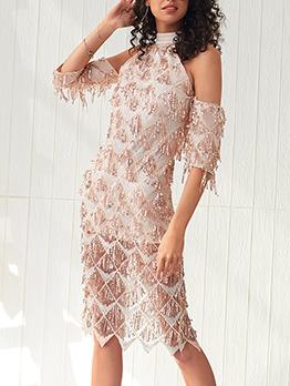 Sparkly Sequined Tassel Off The Shoulder Dress