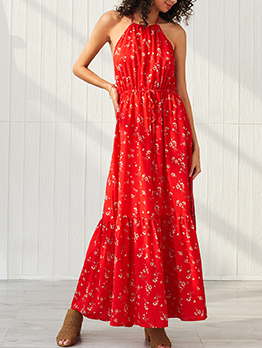 Vacation Backless Lace Up Red Floral Maxi Dress