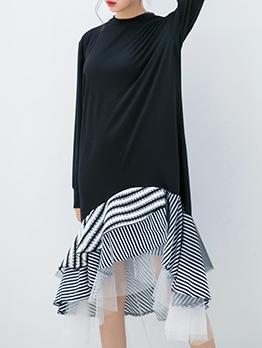 Irregular Ruffles Hem Patchwork Long Sleeve Dress