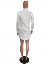 Pearl Decor Cartoon Rabbit Printed Long Sleeve Dress