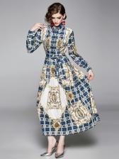 Vintage Plaid Large Hem Long Sleeve Maxi Dress