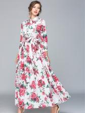 Tie Neck Rose Printed Long Sleeve Maxi Dress