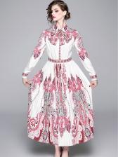 Vintage Printed Long Sleeve Pleated Maxi Dress