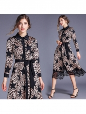 Star Leopard Printed Lace Panel Long Sleeve Dress