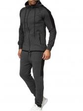 Hooded Collar Cotton Men 2 Piece Activewear