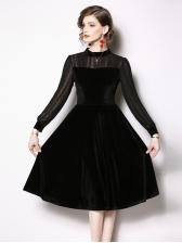 Velvet Stand Collar Black Long Sleeve Dress