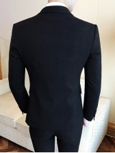 Solid Color Double-Breasted Formal Suits For Men