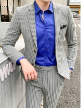 Formal Style Striped 2 Piece Suits For Men