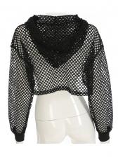 Mesh Dress Hooded Long Sleeve Crop T Shirt