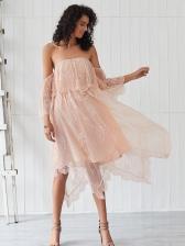 Sweet Irregular Hem Lace Off The Shoulder Dress