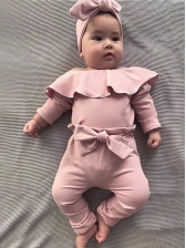 Ruffles Detail Bow Baby Girls 2 Piece Outfits