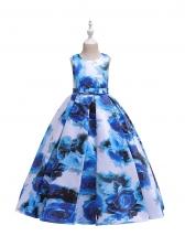 Flower Printing Large Swing Girls Maxi Dress