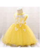 Sweet Butterflies Embroidered Tulle Girl Dress