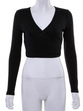 V Neck Cropped Top Long Sleeve T Shirt