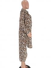 Leopard Printed Long Sleeve High-low Coat