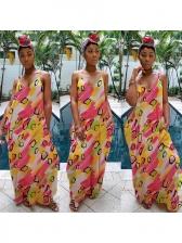 Deep V Neck Colorful Printed Maxi Dress