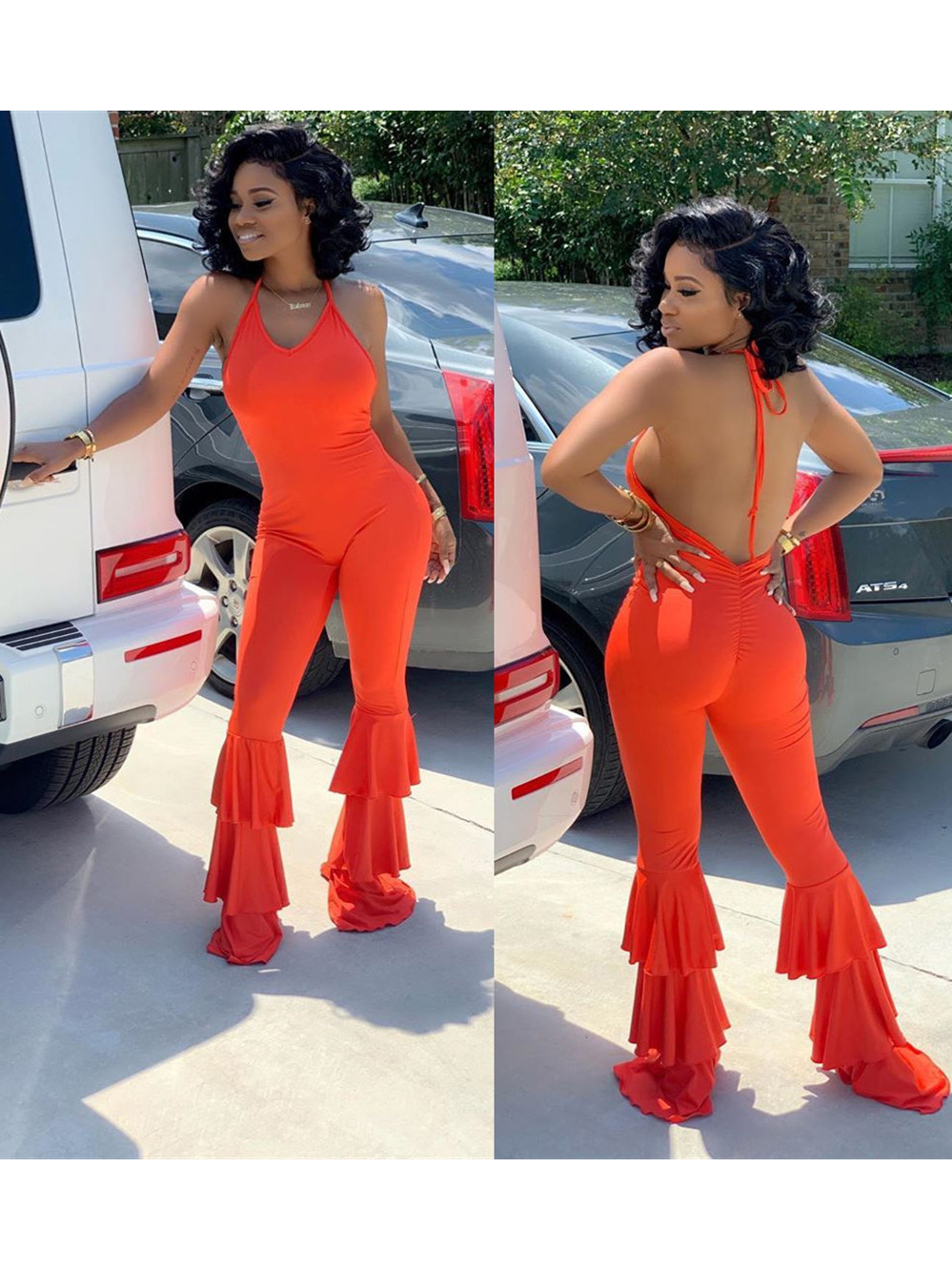 Solid Backless Ruffled Sleeveless Jumpsuits For Women