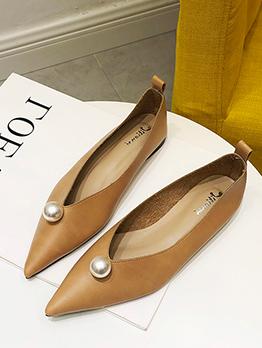 Pearl Solid Low Heel Platform  Flat