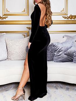 Backless Solid High Split Long Sleeve Maxi Dress